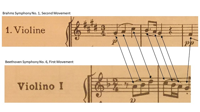 Comparing the opening of Brahms' Symphony No. 1, Second Movement with the opening of Beethoven's Symphony No. 6, First Movement.