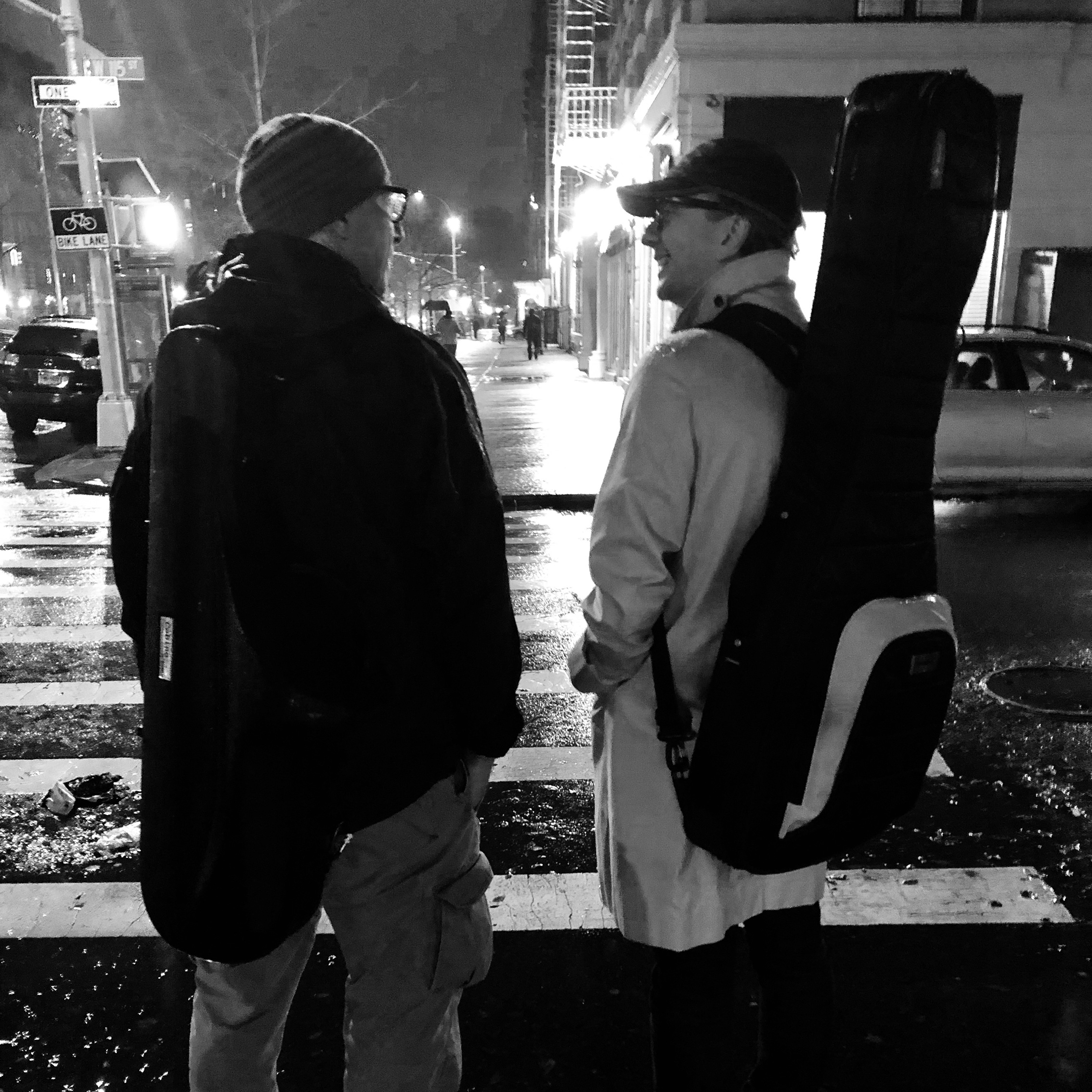 Chester Jankowski and Jesse Ostrow in New York after playing a jazz gig.